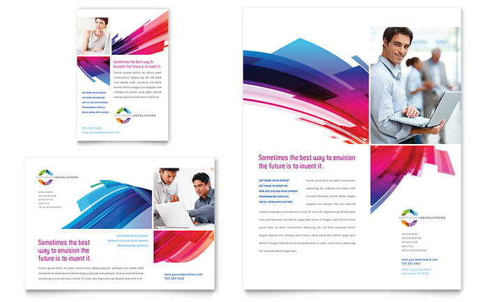Software solutions flyer ad template design for Software for designing brochures