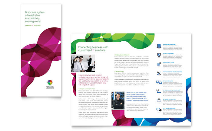 Network administration tri fold brochure template design for Microsoft publisher brochure template