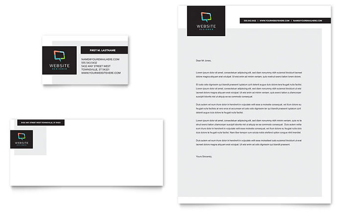 Website Designer Business Card  Letterhead Template Design