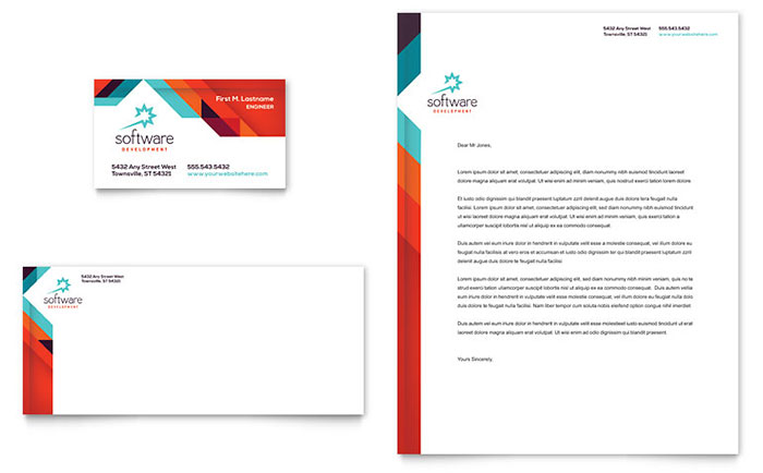 Application Software Developer Business Card Letterhead Template Design