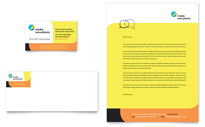 Social Media Consultant Business Card Letterhead Template Design - Microsoft office templates business cards