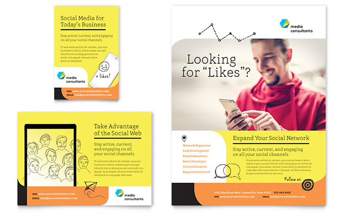 social media consultant flyer ad template design indesign illustrator word publisher