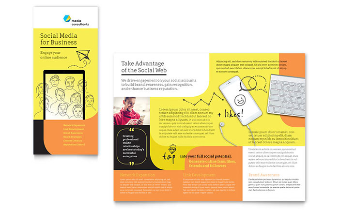 Social Media Consultant Tri Fold Brochure Template Design Download - InDesign, Illustrator, Word, Publisher, Pages