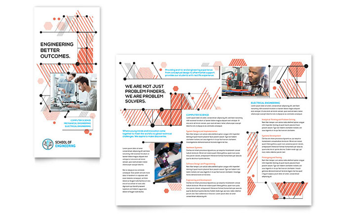 computer brochure templates - computer engineering tri fold brochure template design