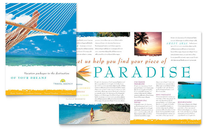 Travel agency brochure template design for Free travel brochure templates
