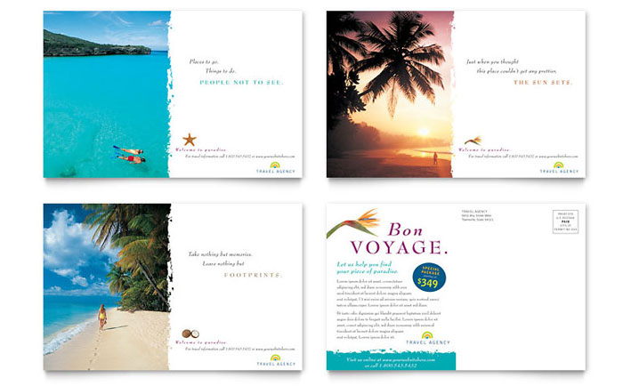 word travel brochure template - travel agency postcard template design