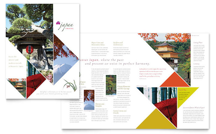 Japan travel brochure template design for 11x17 half fold brochure template