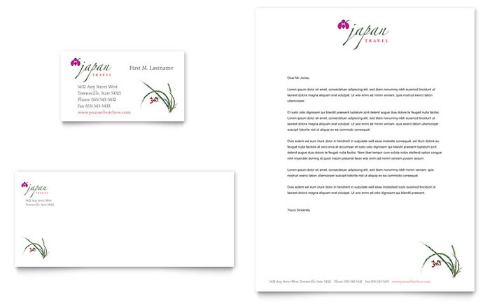 Japan Travel Business Card & Letterhead Template Design Download - InDesign, Illustrator, Word, Publisher, Pages