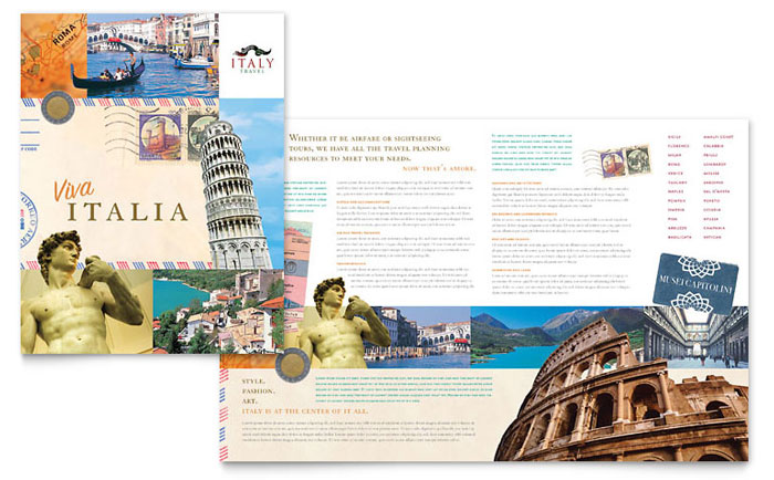 Italy travel brochure template design for Free travel brochure templates for microsoft word