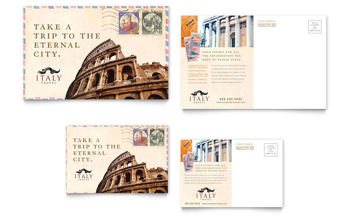Italy Travel Postcard Template Design Download - InDesign, Illustrator, Word, Publisher, Pages
