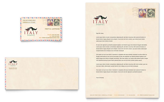 Italy travel business card letterhead template design for Restaurant letterhead templates free