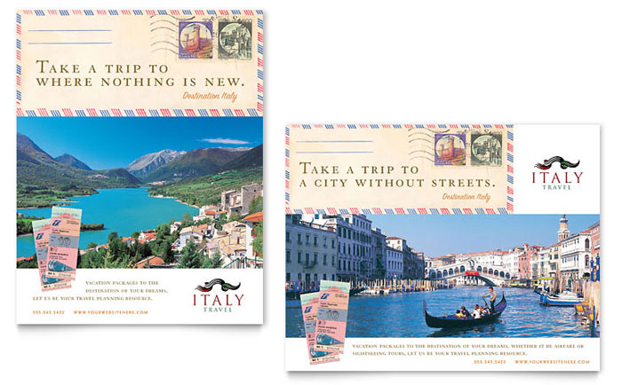 Italy Travel Poster Template Design Download - InDesign, Illustrator, Word, Publisher, Pages