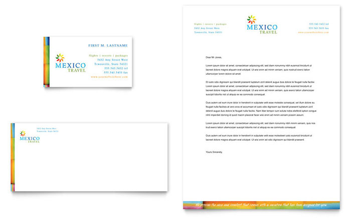 Mexico travel business card letterhead template design spiritdancerdesigns