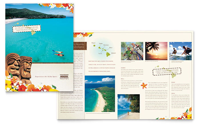 Hawaii travel vacation brochure template design for Travel brochures templates