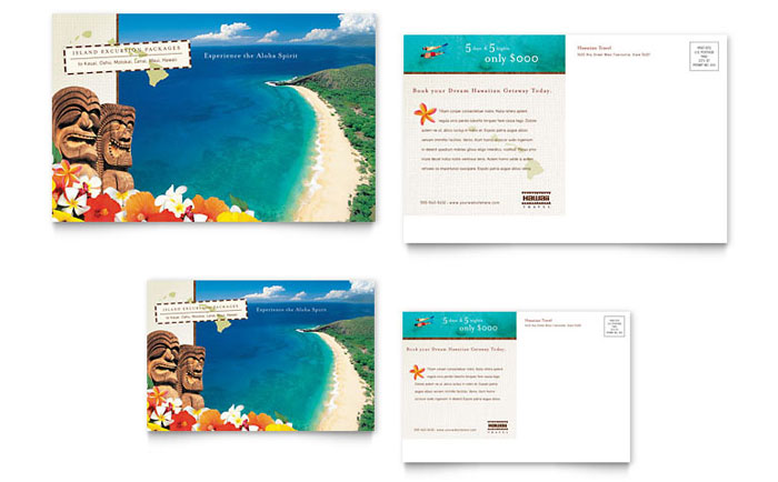 Hawaii Travel Vacation Postcard Template Design