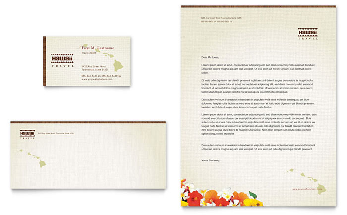 Hawaii Travel Vacation Business Card & Letterhead Template Design Download - InDesign, Illustrator, Word, Publisher, Pages