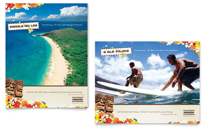 Hawaii Travel Vacation Poster Template Design