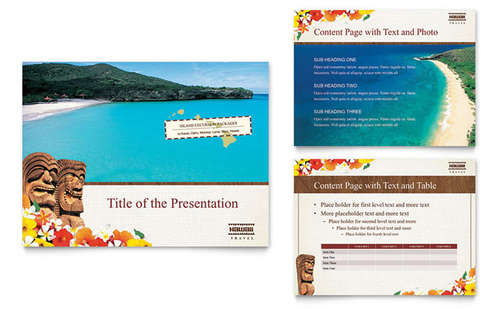 travel brochures templates - hawaii travel vacation powerpoint presentation template design