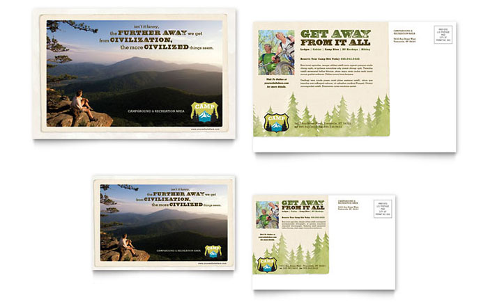 6x4 postcard template - nature camping hiking postcard template design