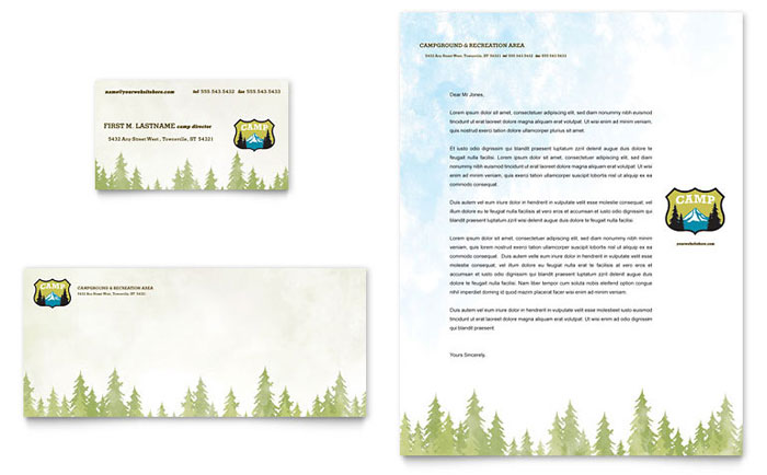 Nature Camping Amp Hiking Business Card Amp Letterhead