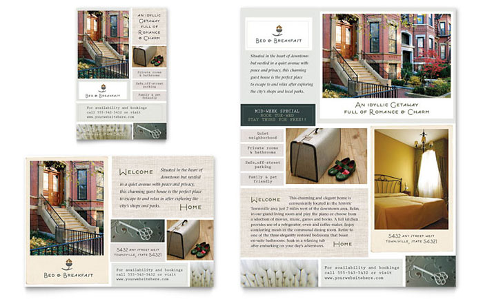 hotel brochure design templates - bed breakfast motel flyer ad template design