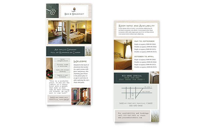 Bed Breakfast Motel Rack Card Template Design - 4x9 rack card template