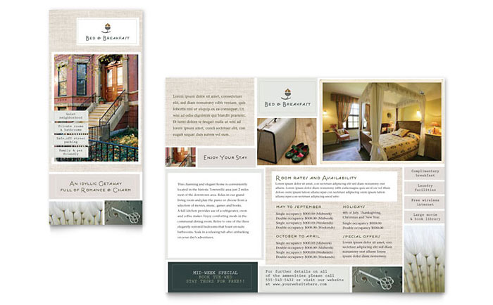 Bed & Breakfast Motel Tri Fold Brochure Template Design Download - InDesign, Illustrator, Word, Publisher, Pages