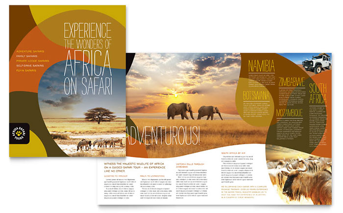 African safari brochure template design for Free travel brochure templates for microsoft word
