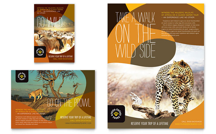 zoo brochure template - african safari flyer ad template design