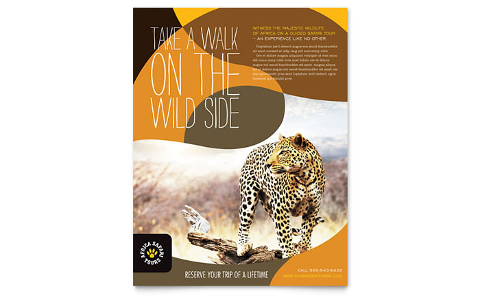 African Safari Flyer Template Design Download - InDesign, Illustrator, Word, Publisher, Pages