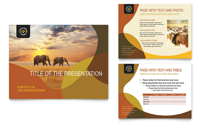 african safari powerpoint presentation template design, Modern powerpoint