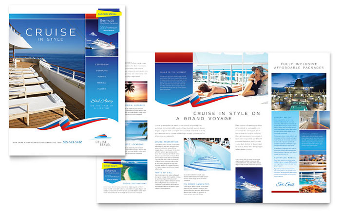 Cruise travel brochure template design for Brochure pdf template