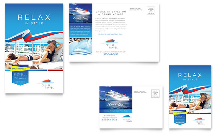 Cruise travel postcard template design for Cruise brochure template