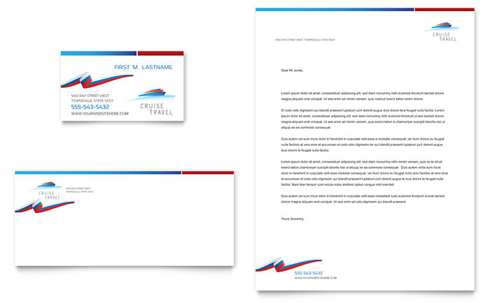 cruise travel business card letterhead template