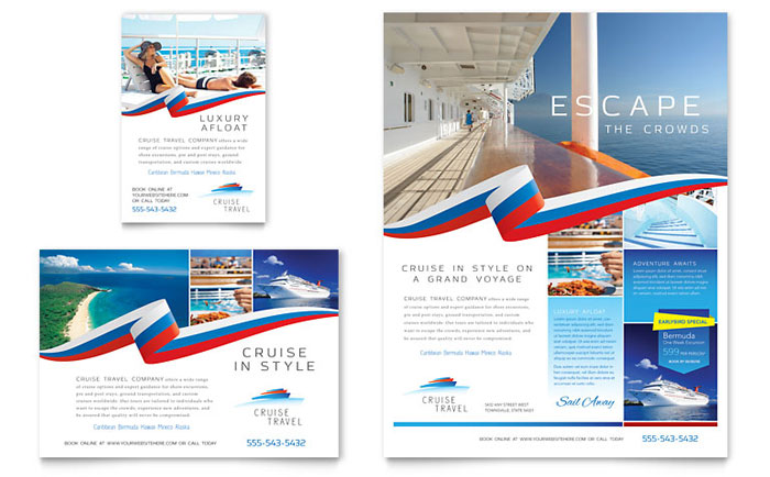 Cruise travel flyer ad template design for Tour brochure template