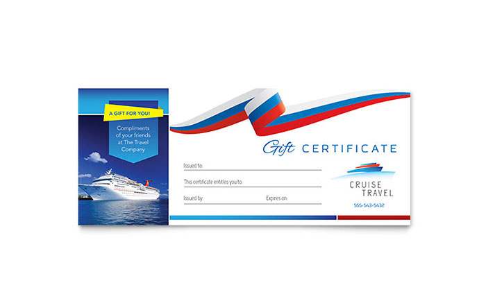 Cruise travel gift certificate template design yelopaper