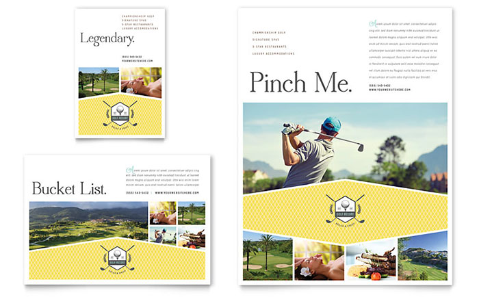 Golf Resort Flyer & Ad Template Design Download - InDesign, Illustrator, Word, Publisher, Pages