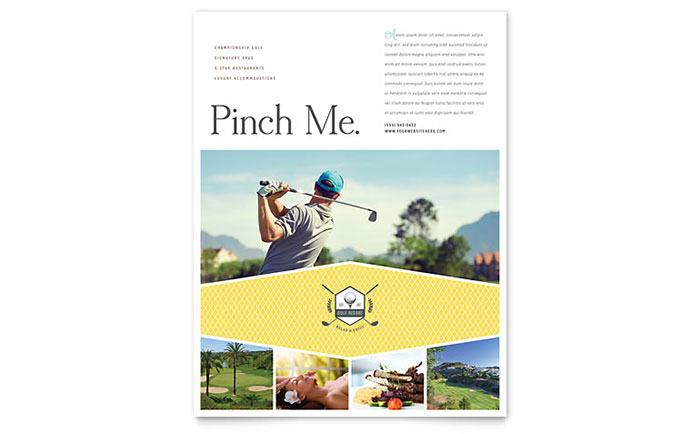 Golf Resort Flyer Template Design Download - InDesign, Illustrator, Word, Publisher, Pages