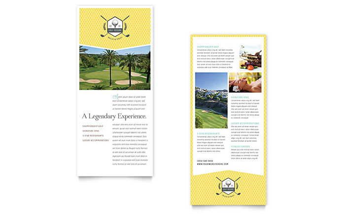 golf resort rack card template design. Black Bedroom Furniture Sets. Home Design Ideas