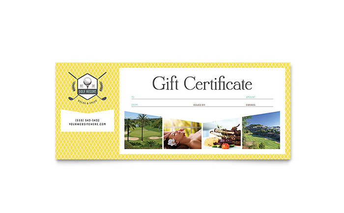 Golf resort gift certificate template design yelopaper Images