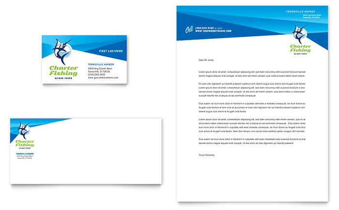 fishing charter guide business card letterhead template design
