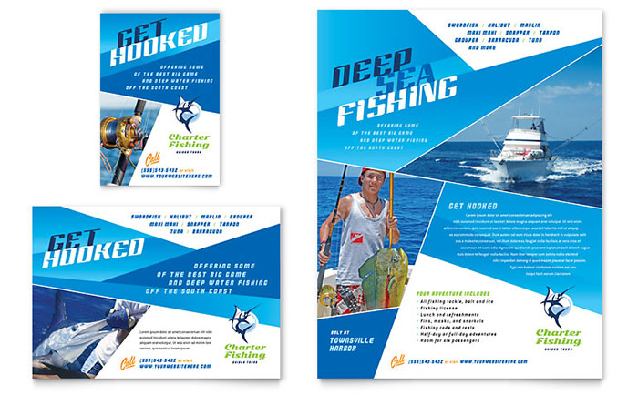 Fishing Charter amp Guide Flyer Ad Template Design