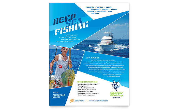 Fishing Charter Amp Guide Flyer Template Design