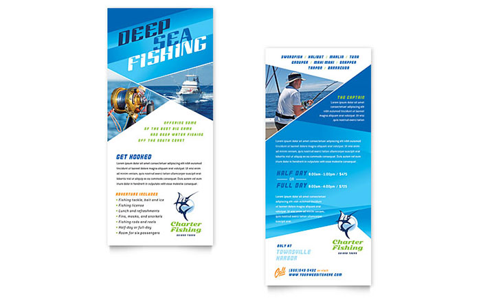 Fishing Charter & Guide Rack Card Template Design Download - InDesign, Illustrator, Word, Publisher, Pages