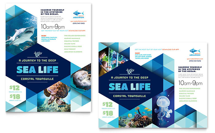 Indesign Poster Template | Ocean Aquarium Poster Template Design