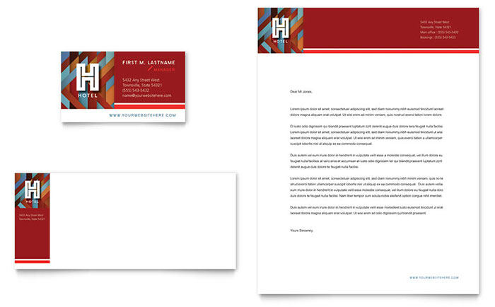 Hotel Business Card Amp Letterhead Template Design