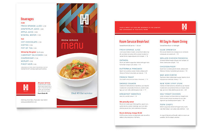 Menu Templates InDesign Illustrator Publisher Word – Sample Cafe Menu Template