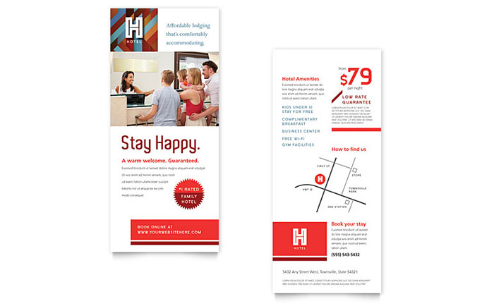 Hotel Rack Card Template Design Download - InDesign, Illustrator, Word, Publisher, Pages