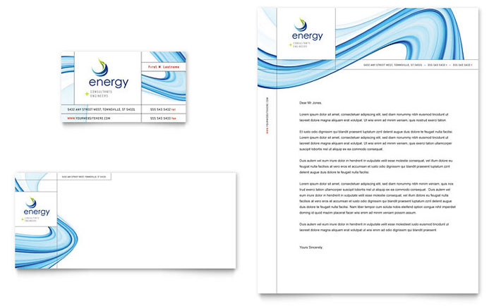 Renewable Energy Consulting Business Card Letterhead Template Design