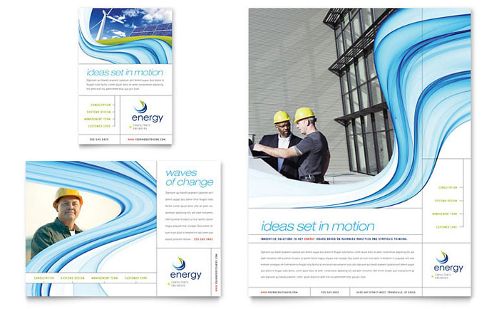 Renewable Energy Consulting Flyer & Ad Template Design - InDesign, Illustrator, Word, Publisher, Pages